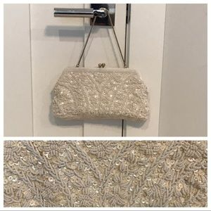 Vintage Beaded Embroidered White Clutch Purse Bag